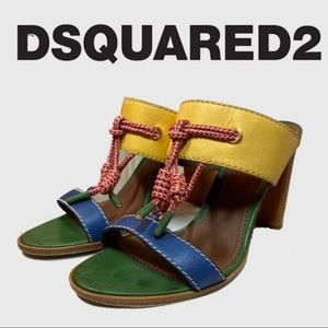DSQUARED2 Muti-Color Leather Open Toe Heels